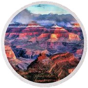 Round Beach Towel featuring the painting Grand Canyon Snow by Christopher Arndt