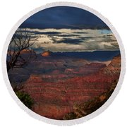 Grand Canyon Storm Clouds Round Beach Towel by John A Rodriguez