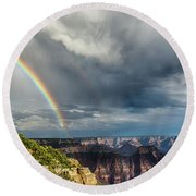 Grand Canyon Stormy Double Rainbow Round Beach Towel
