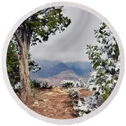 Grand Canyon Through The Trees Round Beach Towel