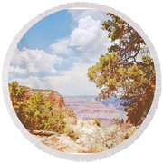 Grand Canyon View With Pine Tree Round Beach Towel by A Gurmankin
