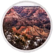 Grand Canyon Winter Sunrise Landscape At Yaki Point Round Beach Towel