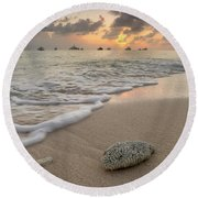 Round Beach Towel featuring the photograph Grand Cayman Beach Coral At Sunset by Adam Romanowicz