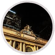 Grand Central Nocturne Round Beach Towel by Steven Richman