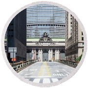 Grand Central Station In New York City Round Beach Towel