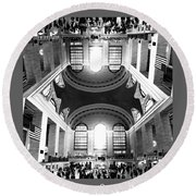 Round Beach Towel featuring the photograph Grand Central Terminal Mirrored by Diana Angstadt