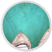 Grand Central Windows- By Linda Woods Round Beach Towel