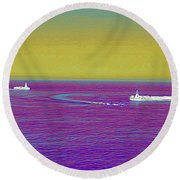 Purple Sea Round Beach Towel