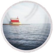 Grand Haven Lighthouse From North Pier Round Beach Towel