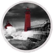 Grand Haven Lighthouse In A Rain Storm Round Beach Towel