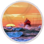 Round Beach Towel featuring the painting Grand Haven Lighthouses by Christopher Arndt
