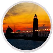 Grand Haven Sunset Round Beach Towel