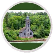Grand Island East Channel Lighthouse #6549 Round Beach Towel by Mark J Seefeldt