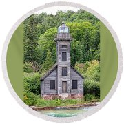Grand Island East Channel Lighthouse #6554 Round Beach Towel by Mark J Seefeldt