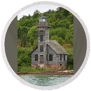 Grand Island East Channel Lighthouse #6664 Round Beach Towel by Mark J Seefeldt