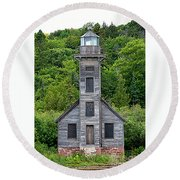 Grand Island East Channel Lighthouse #6672 Round Beach Towel by Mark J Seefeldt