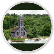 Grand Island East Channel Lighthouse #6680 Round Beach Towel by Mark J Seefeldt