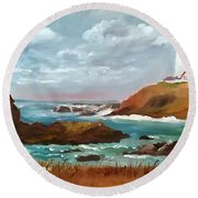 Grand Lighthouse Round Beach Towel by Larry Hamilton