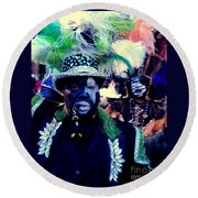 Grand Marshall Of The Zulu Parade Mardi Gras 2016 In New Orleans Round Beach Towel