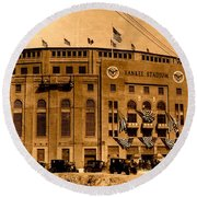 Round Beach Towel featuring the photograph Grand Opening Of Old Yankee Stadium April 18 1923 by Peter Gumaer Ogden Collection