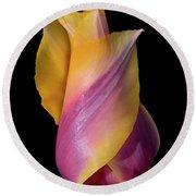Grand Opening - Purple And Yellow Tulip 001 Round Beach Towel