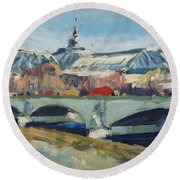 Grand Palace In Winter Paris Round Beach Towel by Nop Briex