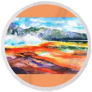 Grand Prismatic Hot Spring Round Beach Towel