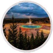 Grand Prismatic Pool - Yellowstone Round Beach Towel