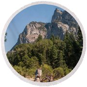 Grand Sentinel Zumalt Meadow Kings Canyon National Park Round Beach Towel