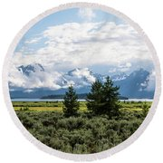 Grand Teton Countryside Round Beach Towel