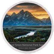 Grand Teton National Park Sunset Poster Round Beach Towel by Gary Whitton
