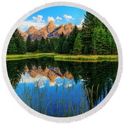 Grand Teton Reflections In Snake River Round Beach Towel