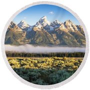 Grand Teton Sunrise Round Beach Towel
