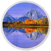 Grand Tetons And Reflection In Grand Round Beach Towel