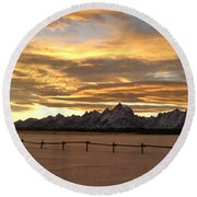 Grand Tetons In January Glory Round Beach Towel
