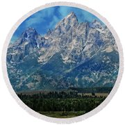 Round Beach Towel featuring the photograph Grand Tetons by Katie Wing Vigil