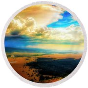 Grand Tetons - Lookout Point Round Beach Towel