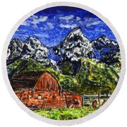 Grand Tetons With Buffalo Round Beach Towel by Phil Strang