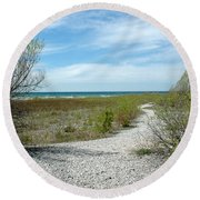 Round Beach Towel featuring the photograph Grand Traverse Bay Path by LeeAnn McLaneGoetz McLaneGoetzStudioLLCcom
