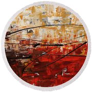 Round Beach Towel featuring the painting Grand Vision by Carmen Guedez