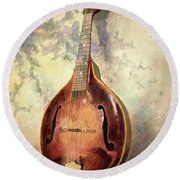 Round Beach Towel featuring the painting Grandaddy's Mandolin by Andrew King