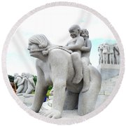 Grandchildren Riding On Grandmothers Back Round Beach Towel by Allan Levin