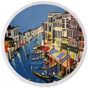 Round Beach Towel featuring the painting Grande Canal by Donna Blossom