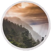 Grandfather Mountain Blue Ridge Mountains Of North Carolina Round Beach Towel