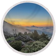 Grandfather Mountain Sunrise Round Beach Towel