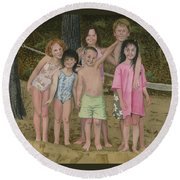 Round Beach Towel featuring the painting Grandkids On The Beach by Ferrel Cordle
