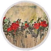 Round Beach Towel featuring the painting Grandma Roses by AmaS Art
