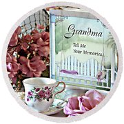 Round Beach Towel featuring the photograph Grandma Tell Me Your Memories... by Sherry Hallemeier
