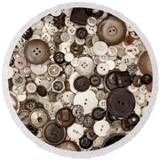 Grandmas Buttons Round Beach Towel
