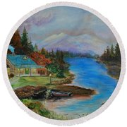 Round Beach Towel featuring the painting Grandmas Cabin by Leslie Allen
